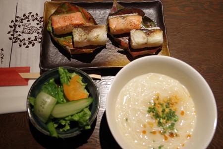 炙り柿の葉寿司と三輪素麺