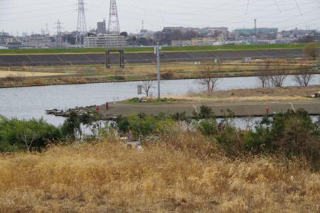 荒川と彩湖の合流地点